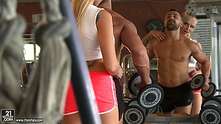 Sweet blonde with tattooed arm Kayla Green ass fucked in the gym