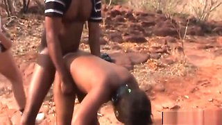 African Chick Abused By Horny Studs Outdoors