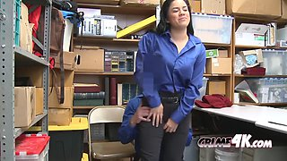 Young thief monica gets her mouth and pussy stuffed by officer&#39s cock