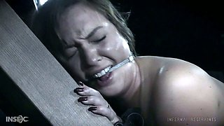 Brunette beautiful white chick with gorgeous ass nude and restrained for punishment