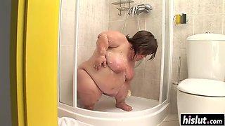 Nasty midget masturbates in the shower