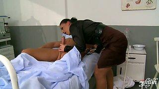 Horny nurse Clarissa sucks her patients dick deepthroat
