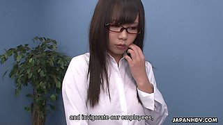Nerdy Japanese girl Mikuru Mio gives a blowjob to her new boss