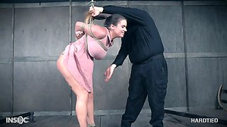 Bondage and suspended big tittied hoe Scarlet De Sade gets punished