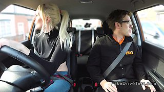 Blonde masturbates and fucks in car