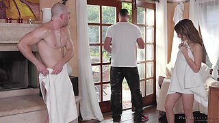 Jane Wilde gets oiled up, fucked hard and cum sprayed