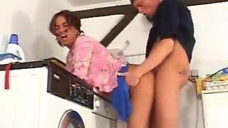 Floppy tits laundry rroom fuck