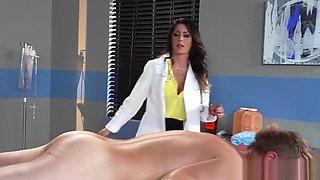 Hot doctor Jessica Jaymes milks cock  - Brazzers