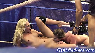 Wrestling babes with big tits licking pussies