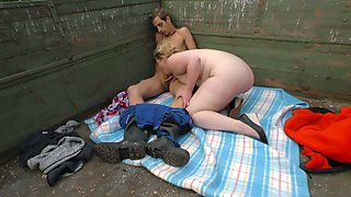 Village chubby blonde is fucked by young farmer and fed with his semen
