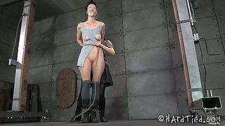 Blind folded leggy chick is tied up and finger fucked by kinky mistress