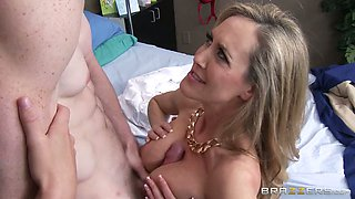 Horny guy bangs sexy light haired MILF with big boobies in mish pose hard