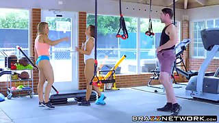 Charles have dirty fun in the gym with Nicole and Abigail