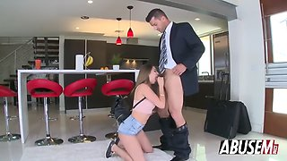 young nympho melissa moore gags on dick and gets pussy abused