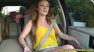 Stranded teen picked up for car blowjob