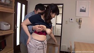 House cleaning Japanese milf fucking in her kitchen