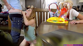 Bent over the table vivid gal Lilly Ford is fucked from behind hard
