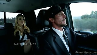 Horny driver comforts crying babe Natalia Starr with his hard and juicy dick