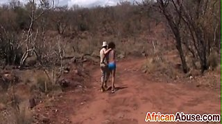Black girl tied up and abused for sex in African outdoor