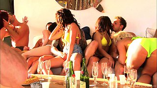 Sharon Lee and Henessy enjoy a fat dick during an outdoor orgy