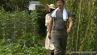 Chubby Asian with big tits fingering hairy cunt in bath outdoor