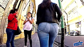 Big Ass Big Hips and Cameltoe In Jeans in Public Street