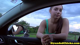 Stranded euro amateur fingered outside on car