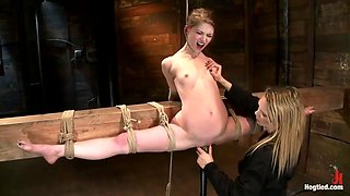 sensi pearl is punished by rain degrey in leg split bondage