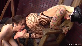 nasty mistress in bodystockings pours wax on guy and sits on his face