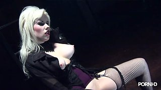 Man on a chain fucked by blonde mistress