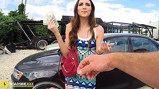Roadside - Spicy Latina fucks a big dick to free her car
