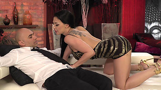 Busty bimbo stripper fucked on a couch