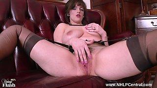 Big natural tits brunette Kate Anne masturbates in retro nylons garter belt and high stilettos