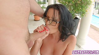 Busty babe in glasses enjoys anal and cock sucking