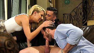 Amazing gal Sophia Grace takes part in really steamy bisexual MMF 3some