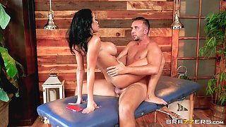 masseur oils her up and rails her
