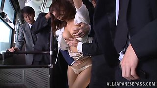 Asian milf Nami Hoshino gets face-fucked by a stranger in a bus