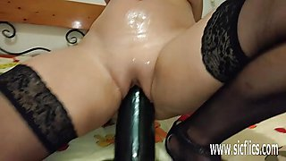 Huge colossal dildos in her greedy bucket pussy
