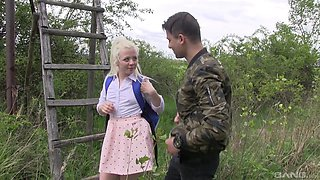 Blonde amateur teen cutie Charlotte Shay pounded outdoors