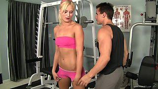 Sporty sunburnt blondie J.C. Simpson gets pleased in the gym