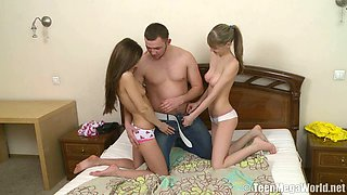 Fresh and spicy Russian teen whores seducing one guy
