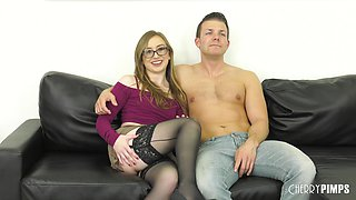 Small-titted Gracie May Green wearing stockings and getting boned