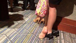 candid sexy brunette legs nylon heels