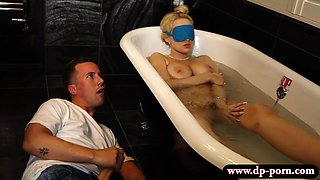 Massive boobs woman Angel Wicky 3some in the bathroom