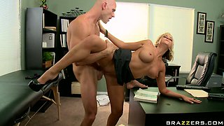 Blonde office babe Briana Blair fucking doggy style