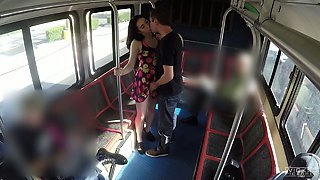 Brunette beauty with great slender body Aria Alexander fucked in bus