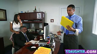 Naughty teen pounded in office