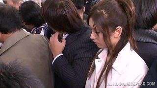 Japanese chick gets her pussy and mouth fucked in a crowded place