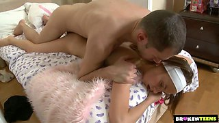 Teenage angel Zanna gets her tight pussy poked by her brutal neighbor