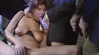 Horny Arab man fucks trashy looking whore with big tits and hairy pussy